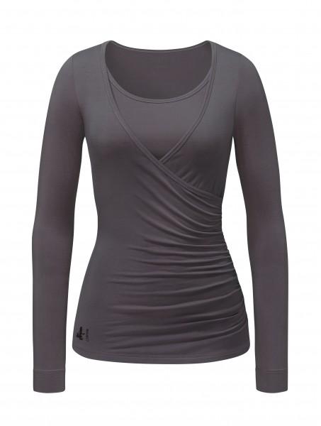 6 BRIGITTE Wrapshirt - aubergine-grey