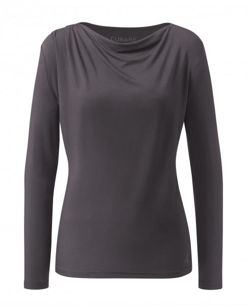 Flow #2275 Shirt waterfall 1/1 sleeves - grau aubergine
