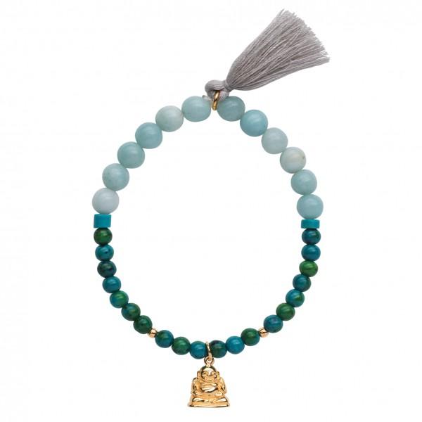 Handmala Buddha mit Amazonit & Chysokoll
