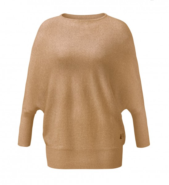 #500 Oversize Pullover aus Merinowolle - camel-melange