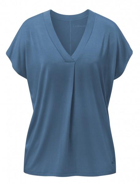 Flow #2114 shirt v-neck boxpleat - horizon-blue
