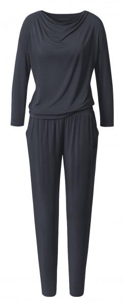 Flow #1130 Jumpsuit waterfall 3/4 sleeves - black
