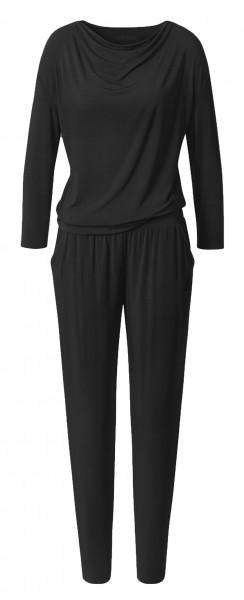 Flow #9217 waterfall jumpsuit long sleeves - black