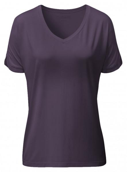 Flow #2240 v-neck shirt - dark-aubergine