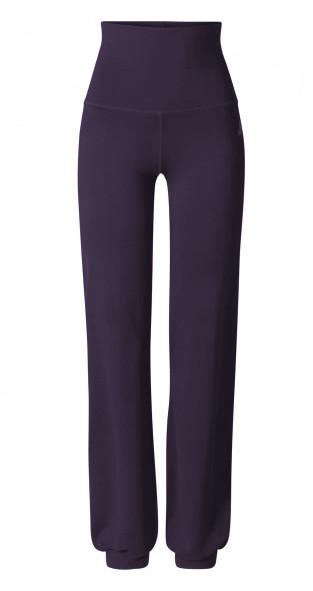 Breath #9 Long Pants Roll Down Bund - dark-aubergine