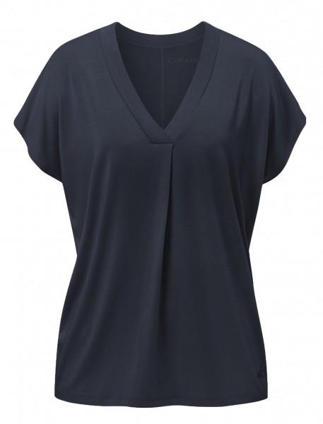Flow #2114 shirt v-neck boxpleat - midnight-blue