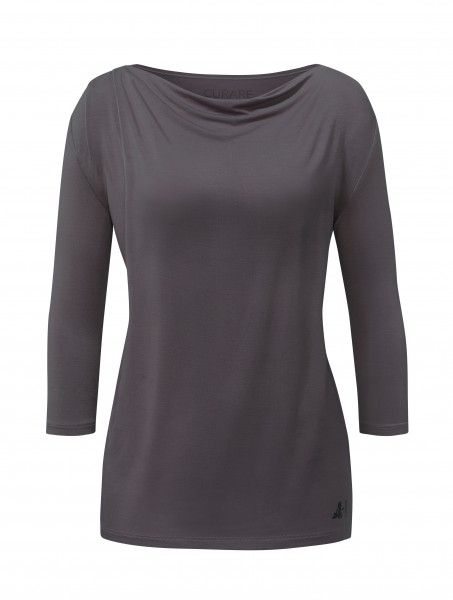 4 BRIGITTE Waterfall Shirt 3/4 Sleeves - aubergine-grey