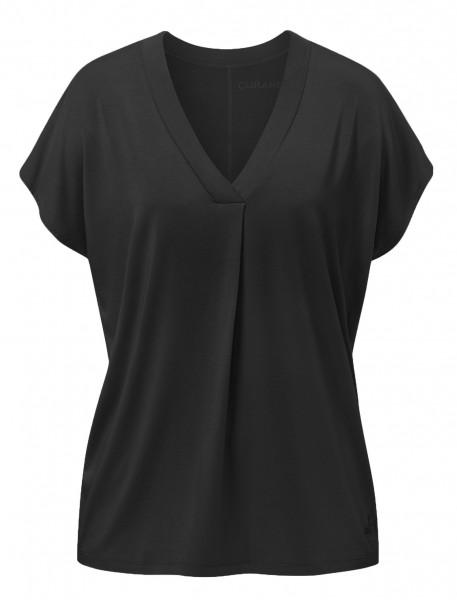 Flow #2114 shirt v-neck boxpleat - black
