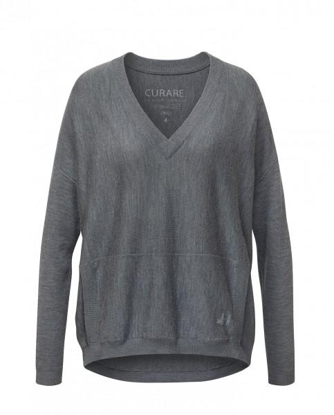 #8227 wide Pullover V-Neck aus Merinowolle