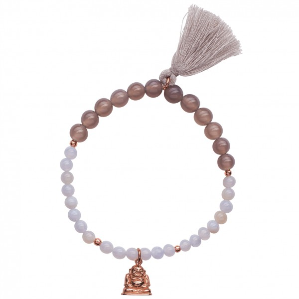 Handmala Buddha Rosegold mit Achat & Chalcedon