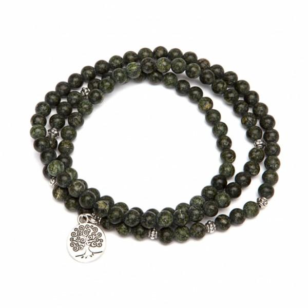 Mala Wickel-Armband, grüner Serpentinit